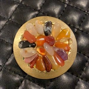 Vintage 1970s Gold Crystal Gem Chip Brooch